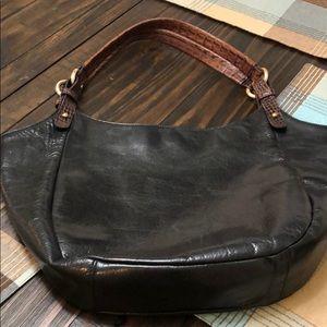 Brahmin black leather bag with brown straps